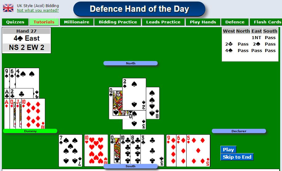 Bridge hand to play - defence